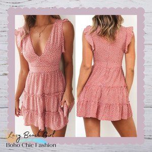 Boho Ruffle Hem Tiered Mini Dress